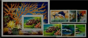 Dominica 421-26a MNH Fishes SCV13.05