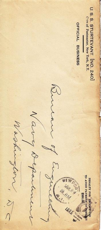 Cover: USS Sturtevant DD-240, Jul 29, 1927, #9 Envelope (S8266 ...