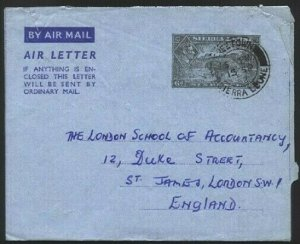 SIERRA LEONE 1952 GVI 6d airletter commercially used Freetown to London....76117