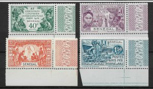 Senegal 1931, Colonial Expo, Paris, Scott # 138-141 Corners !, VF MLH*OG (FR-1)
