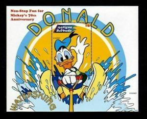 ANTIGUA - 1999 - DISNEY - DONALD DUCK - WATER SKI - WATER SPORTS - MINT S/SHEET!