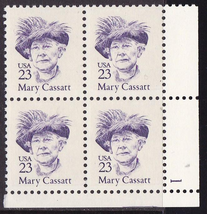 United States 1986 Great Americans 23c Mary Cassatt Plate Number Block VF/NH