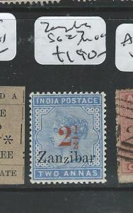 ZANZIBAR (P1807B) QV 2 1/2/2A INDIA SG27  MOG