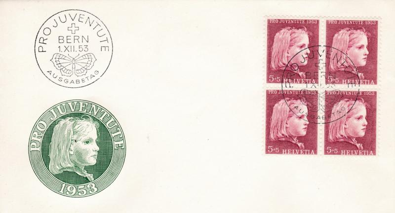 Switzerland 1953 Pro Juventute Complete (5) Blocks of Four on 5 First Day Covers