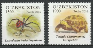 Uzbekistan 2016 Fauna, Turtles, Spiders 2 MNH stamps