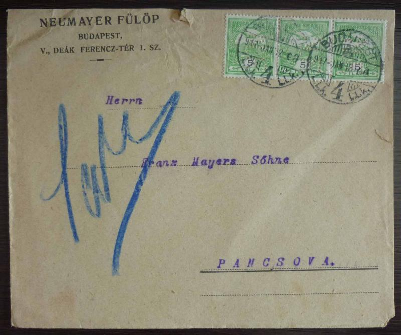 HUNGARY-EARLY ADVERTISING COVER-JUDAICA ''NEUMAYER FULOP'' RR! jews jewish J1
