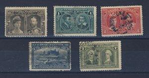 5x Canada 1908 Quebec Used Fine Stamps 1/2c 1c 2c 3c 5c 7c Guide Value = $95.00