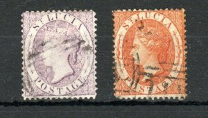 St Lucia 1876 (6d) pale lilac and (1s) deep orange FU