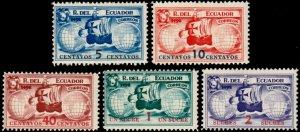 ✔️ ECUADOR 1935 - CHRISTOPHER COLUMBUS SHIPS - UNISSUED SET ** MNH  [PA35X3]