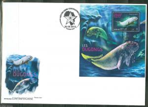 CENTRAL AFRICA 2013 DUGONGS SOUVENIR SHEET  FIRST DAY COVER