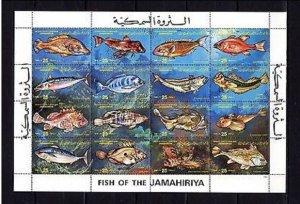 Libya MNH S/S 1107 Fish 12 Stamps SCV 10.00