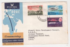 RHODESIA & NYASALAND, 1962 30th. Anniversary Airmail set of 3 on BOAC fdc.