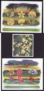 Tuvalu-Sc#810-12- id7-unused NH sheets-Flowers-1999-