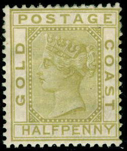 GOLD COAST SG4, ½d olive-yellow, M MINT. Cat £90.