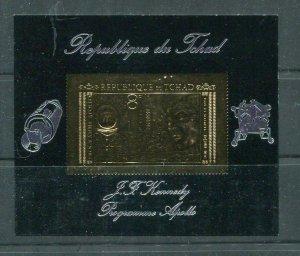 Gold Foil stamp on Souvenir Sheet Chad J.F.Kennedy Program Apollo Space MNH 5914