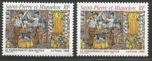 ST. PIERRE & MIQUELON 626-627, MNH PAIR OF STAMPS, BLACKSMITHS AND THEIR TOOLS