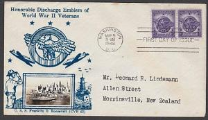 USA 1946 CROSBY photo FDC to New Zealand - Discharge of WW2 Emblem.........55342