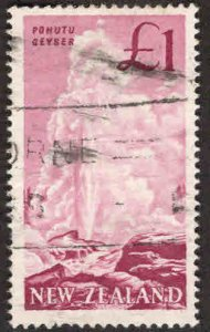 New Zealand Scott 352 Used Pohutu Geyser key 1960 stamp