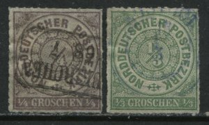 North German Confederation 1868 1/4 and 1/3 groschen used