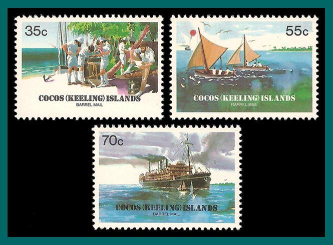 Cocos 1984 Barrel Mail, MNH  111-113,SG111-SG3
