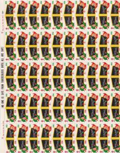 TB Christmas Greetings 1958 Xmas Elfs Charity Seals Stamps Sheet R18177