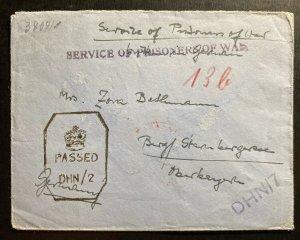 1940s Dehra Dun India POW Prisoner Of War Camp Cover To Berg Germany Bethmann