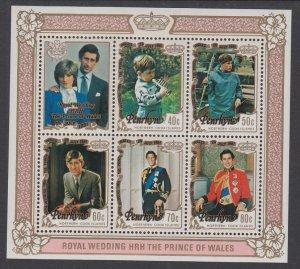 Penrhyn Island 180a Royal Wedding Souvenir Sheet MNH VF