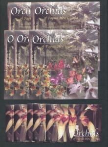 PAPUA NEW GUINEA PNG 2002 ORCHIDS FLOWERS MNH Sheets x 5 Pairs(10 Items)Pap157