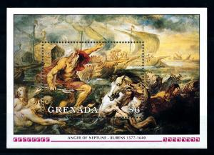 [100166] Grenada 1991 Art Painting Rubens Anger of Neptune Horse Sheet MNH