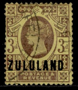 SOUTH AFRICA - Zululand QV SG5, 3d purple/yellow, USED. Cat £22.
