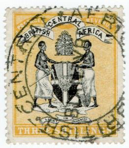 (I.B) Rhodesia/British Central Africa Revenue : Duty Stamp 3/- (Blantyre)