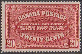Canada 2016 Scott US$220. Mint Fresh & F-NH  1922  20c Special Delivery Dry Ptg.