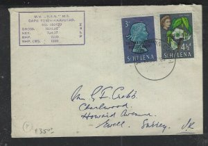 ST  HELENA (P1402B)  SHIP COVER TRISTAN RESETTLEMENT 3D+4 1/2D QEII TO ENGLAND