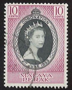 1953 Perak Coronation of Queen Elizabeth II 10С (LL-57)