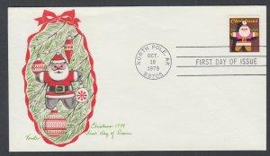 US Pl 1800-E FDC. 1979 15c Christmas, Vonda FIRST CACHET by Vonda Graudinette