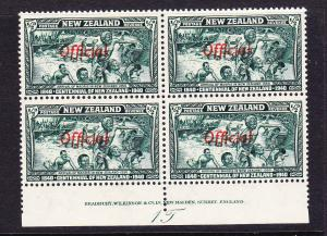 NEW ZEALAND  1940  1/2d  CENTENNIAL OFFICIAL  PLATE BLK 4 #1T  MNH