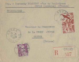 France 50F Iris Air with 10F Marianne Gandon 1949 Cruas, Ardeche Registered t...