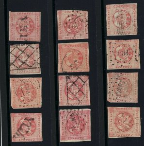 $10, TWELVE STAMPS DIFFERENT SHADES AND CANCELS