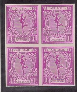 GREAT BRITAIN ca 1960s repro imperforate Mercury Essay VF block of 4