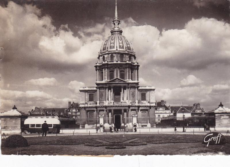 France 1950 Les Dome de Invalids with Musee Postal Ticket Postcard used VGC