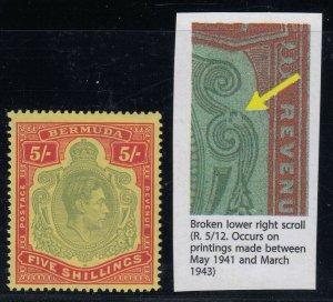 Bermuda, SG 118de, MHR Broken Lower Right Scroll variety