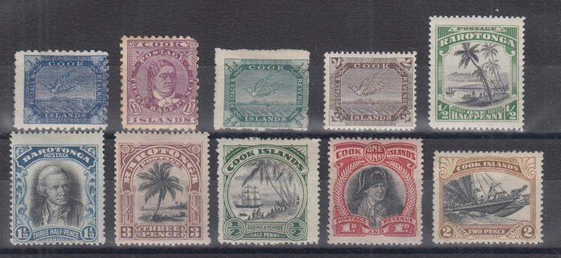 Cook Islands Sc 15/93 MLH. 1898-1933 issues, 10 different singles, F-VF
