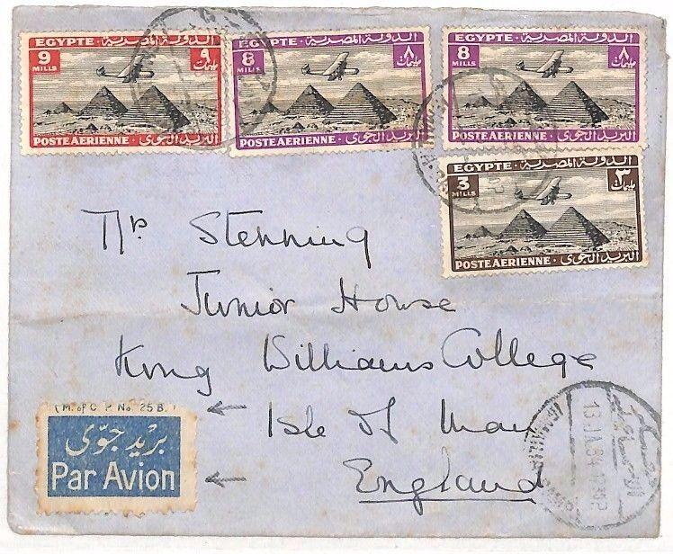 BF41 1934 Egypt AIRMAIL IMPRINT Par Avion ETIQUETTE Cover Isle of Man IOM SCHOOL