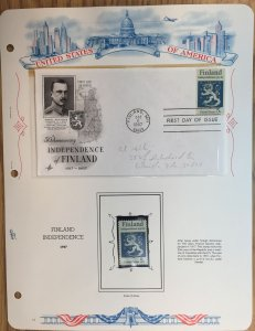 #1334 Finland Independence FDC and MNH Single in mount on souvenir page