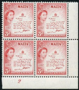 Malta SG272 3d Rose-Red Plate 2a U/M Block (light bend)