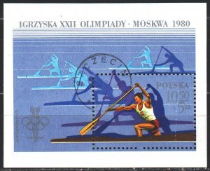 Poland. 1980. bl 81. Moscow, summer olympic games. USED.