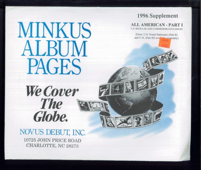 1996 All American Part 1 Minkus Stamp Album Supplement Pages