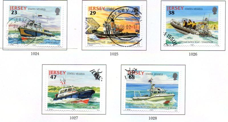 Jersey  Sc 1013-17 2002 State Vessels stamp set used