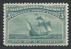 Scott #232, Columbian Exposition Issue, Unused, Original Gum