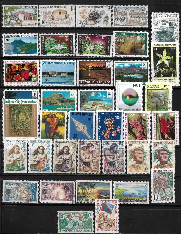 COLLECTION LOT OF 39 FRENCH POLYNESIA STAMPS
